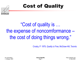 Opportunity to Reduce Real Costs