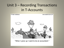 Unit 3 * Recording Transactions in T-Accounts