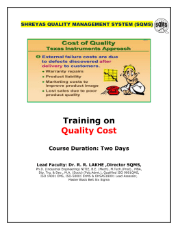 Training on Quality Cost