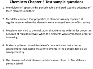 Chemistry Chapter 5 Test sample questions