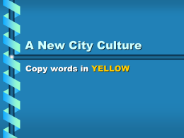 City Growth & Culture