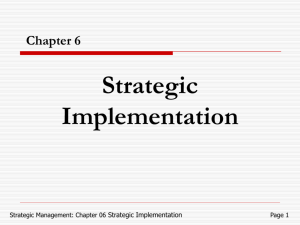 Chapter 6 Strategic implementation