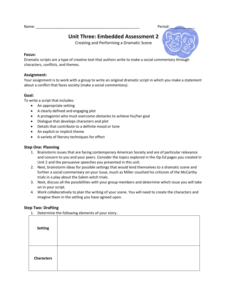 Unit Three: Embedded Assessment 2 Rubric