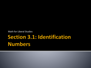 Section 3.1: Identification Numbers