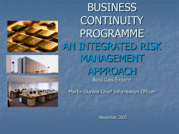 business continuity programme an integrated risk