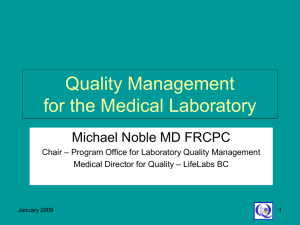 Quality Management for the Medical Laboratory