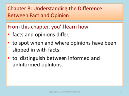 Chapter 8: Understanding the Difference Between Fact and Opinion