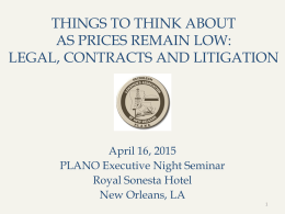 Legal/Contractual/Litigation Implications by Tony Marino