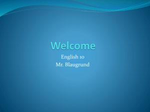 Welcome 10A Intro 2014 2 - blaugrundenglish