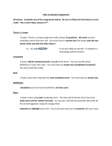 India Vocabulary Assignment Directions: Complete one of the