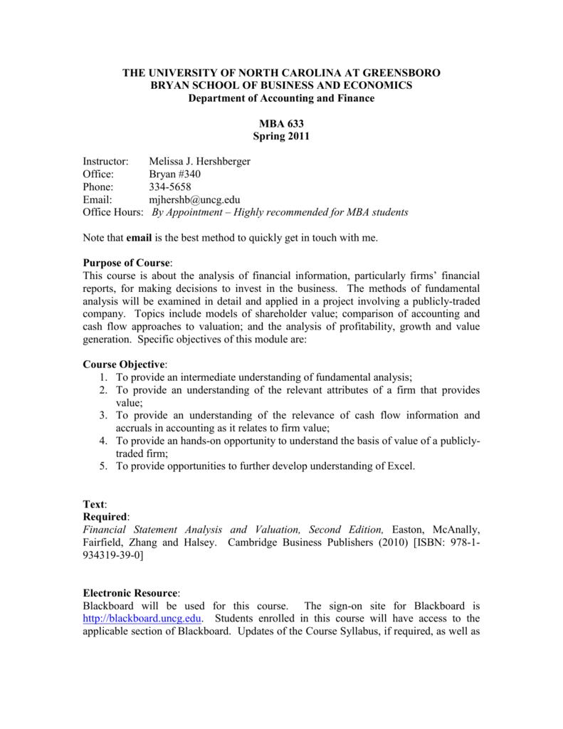 MBA 633-01 - UNC Greensboro