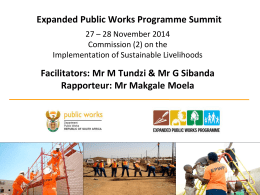 EPWP Summit - Commission 2 Sustainable Livelihoods