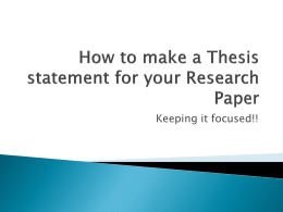 How to make a working Thesis for your Research Paper