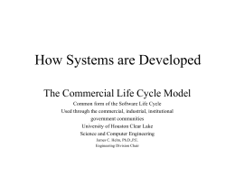 How Systems are developed - School of Science and Computer