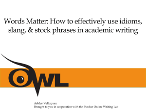 Words Matter: How to Effectively Use Idioms, Slang, & Stock Phrases