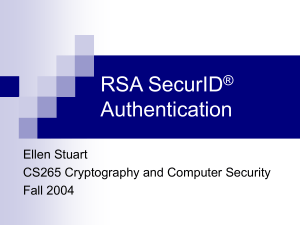 RSA SecurID Authentication - Department of Computer Science