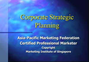 Strategic Marketing--Corporate Strat Planning