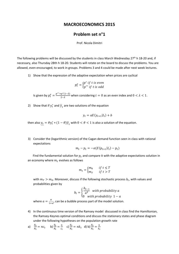 Problem set n° 1
