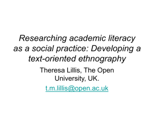 Researching academic literacy as a social practice