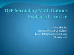 QEP Secondary Math Options Explained* sort of