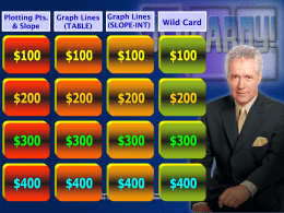 JEOPARDY - Graphing Lines