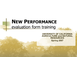 new performance evaluation form training