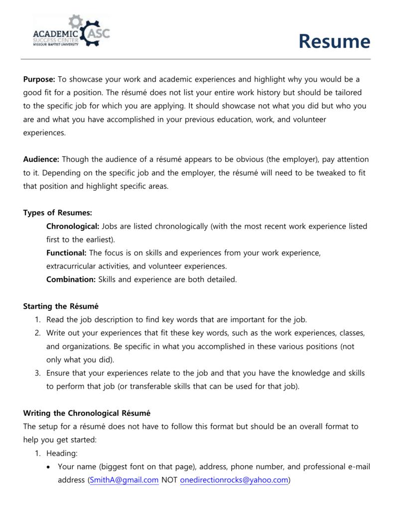 Resume Handout Wordpress Com