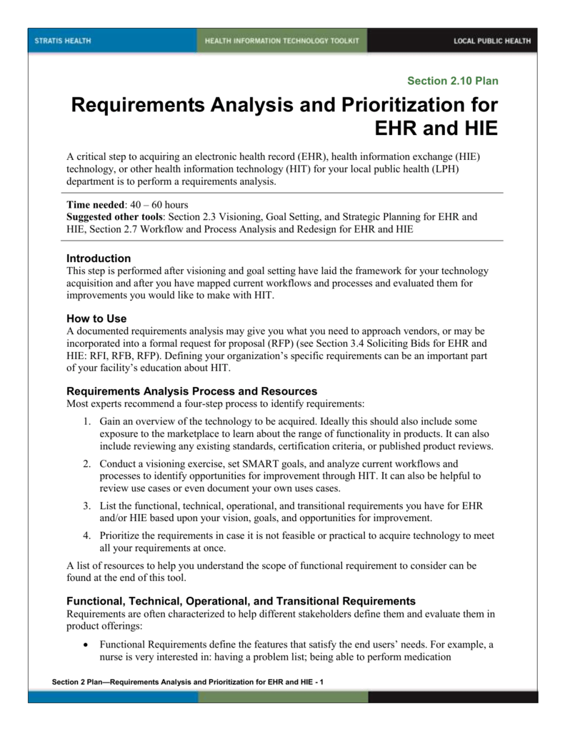 2 Requirements Analysis and Prioritization for EHR and HIE