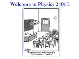 Lecture 0 - Department of Physics