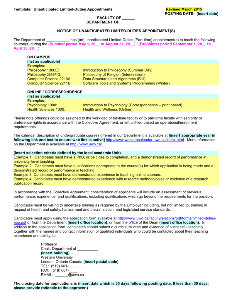 SAMPLE LIMITED DUTIES AD - University of Western Ontario