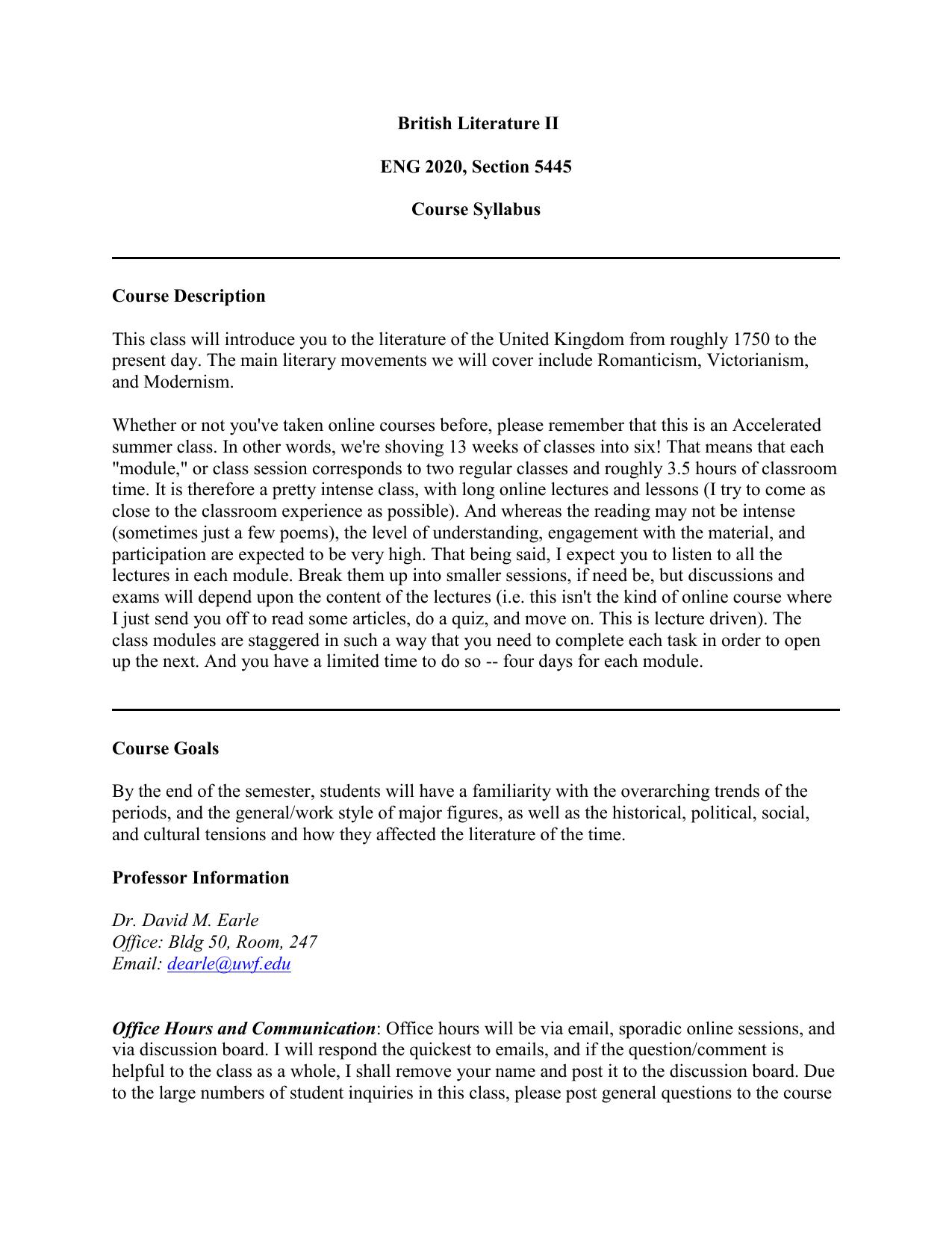Uwf Spring Break 2020.British Literature Ii Eng 2020 Section 5445 Course Syllabus