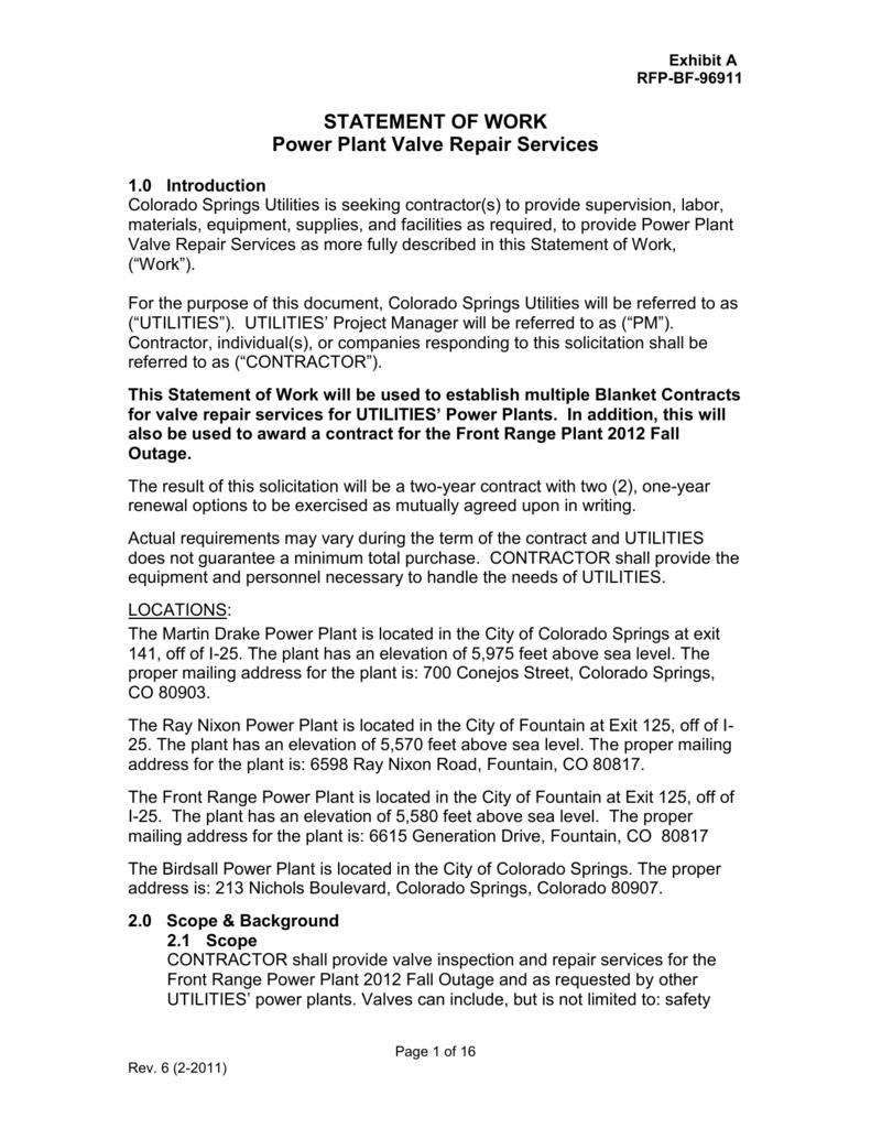 STATEMENT OF WORK Power Plant Valve Repair Services