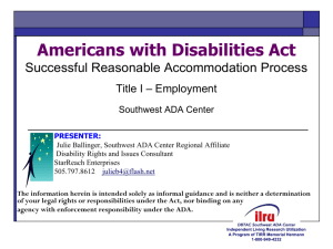 Successful Reasonable Accommodation