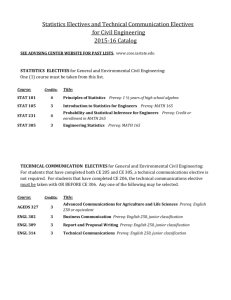 Statistics Electives and Technical Communication Electives for Civil