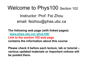 Phys100 Lecture One - UBC Physics & Astronomy