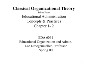 Classical Organizational Theory Taken From Educational