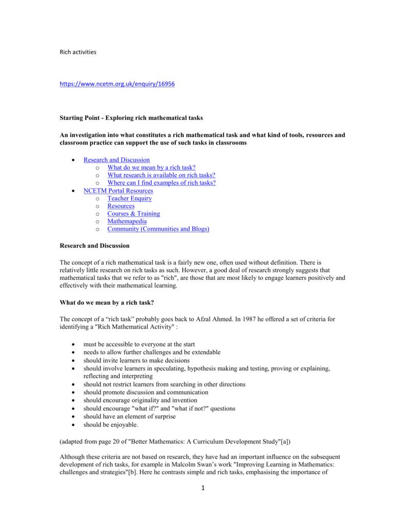 Tasks for Better Mathematics