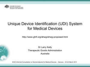 Unique Device Identification (UDI) System for Medical Devices