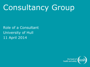 Role of a Consultancy