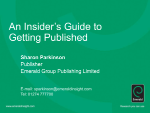 'Insiders' Guide to Getting Published'