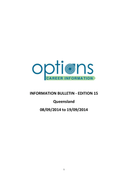 19 Sep Options Career Information Bulletin