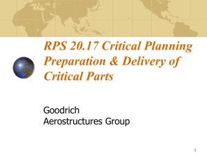 RPS 20.17 Critical Planning Preparation & Delivery of