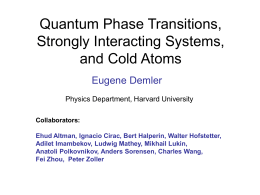 Quantum Phase Transitions - Harvard Condensed Matter Theory