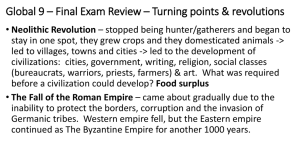 Global 9 * Final Exam Review * Turning points & revolutions