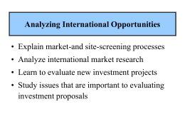 Analyzing International Opportunities - UAH