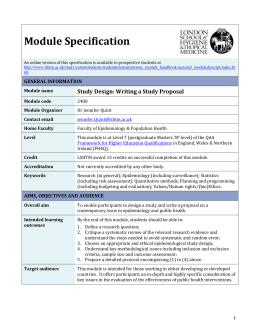 2400 Study Design Writing a Study Proposal Module Specification
