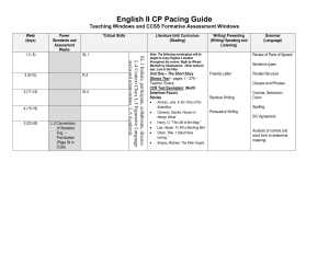 English II CP Pacing Guide