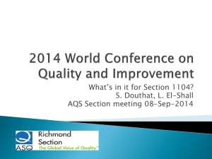 2014 World Conference on Quality and Improvement