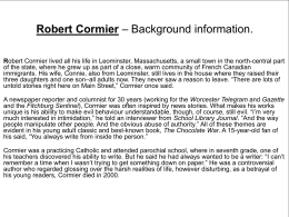 Robert Cormier – Background information.