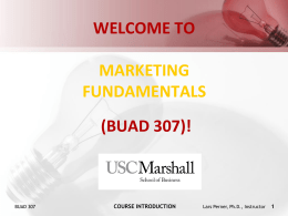 course introduction - Marketing Fundamentals